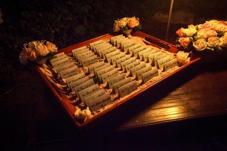 Romantic Riviera Maya Wedding at Belmond Maroma Resort and Spa, MX Fun, beach themed place cards! Photographer:  Juan Euan