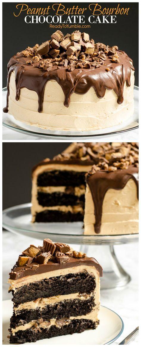 Pastel de chocolate mantequilla de cacahuete Bourbon combina capas de pastel de chocolate húmedo y rico con un glaseado de mantequilla de maní bourbon craveable. Arriba todo con ganache y cacahuete tazas de mantequilla para el último postre de celebración!