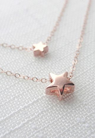 Rose gold #star necklace