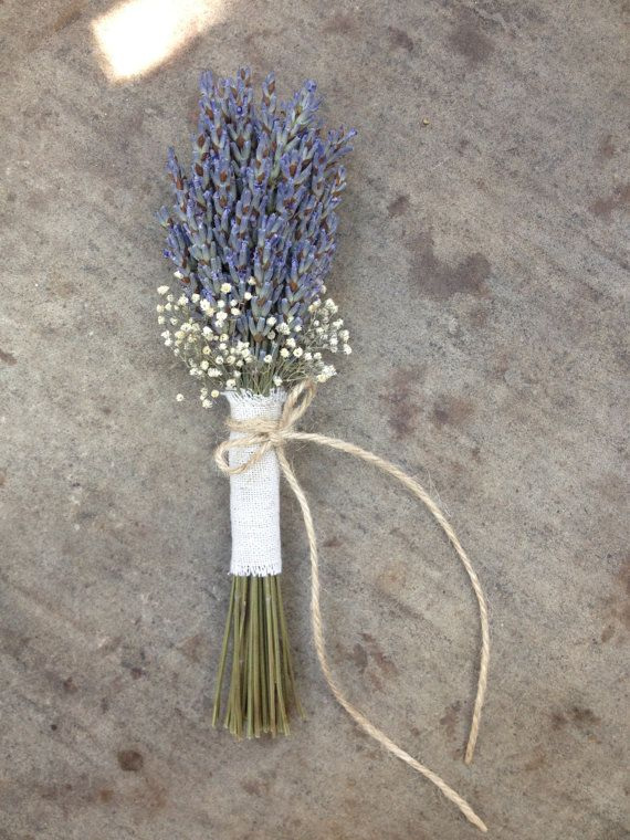 Rustic Wedding Flower Girl Bouquet- Lavender Bouquet, Baby's Breath Bouquet, Natural Linen Fabric and Lace Ribbon, Twine