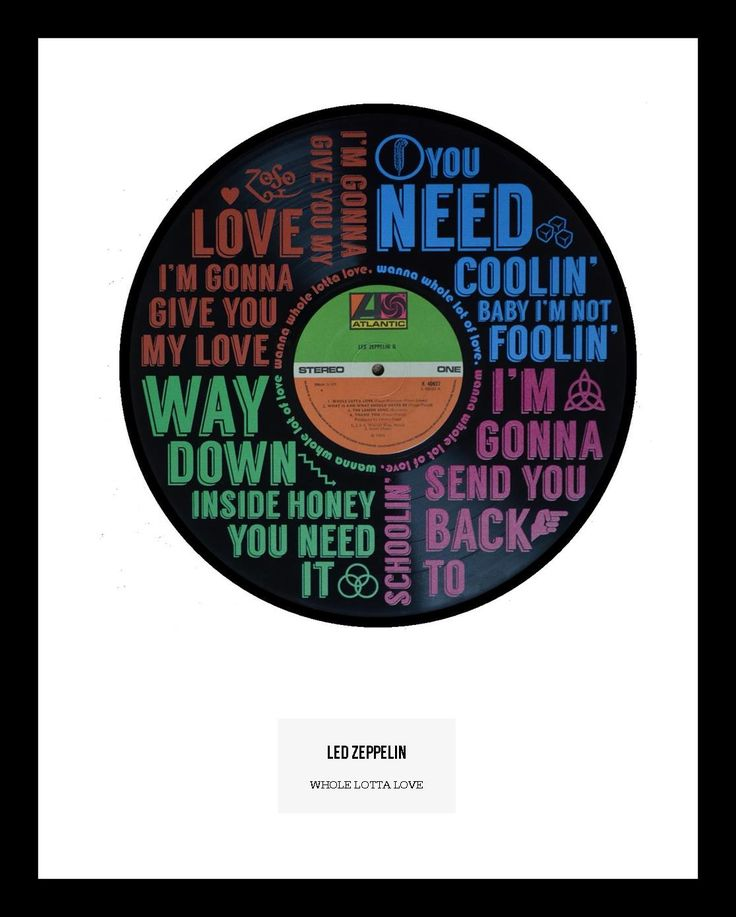 """Rock classic """"Whole Lotta Love"""" by Led Zeppelin. Lyric artwork on original """"Led Zeppelin II"""" LP. Limited Numbers available.  <strong><span style=""""color: #ff6600;"""">IN STOCK</span></strong>"""