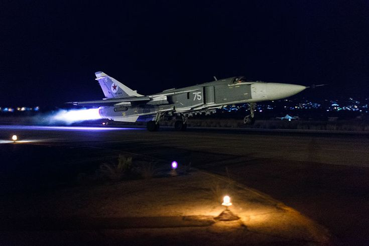 Russian Air Force Su-34s and Su-24s night operations at Latakia airbase. Released by the Russian MoD, the pictures in this post show Sukhoi Su-24 Fencer and Su-34 Fullback attack planes taking off …