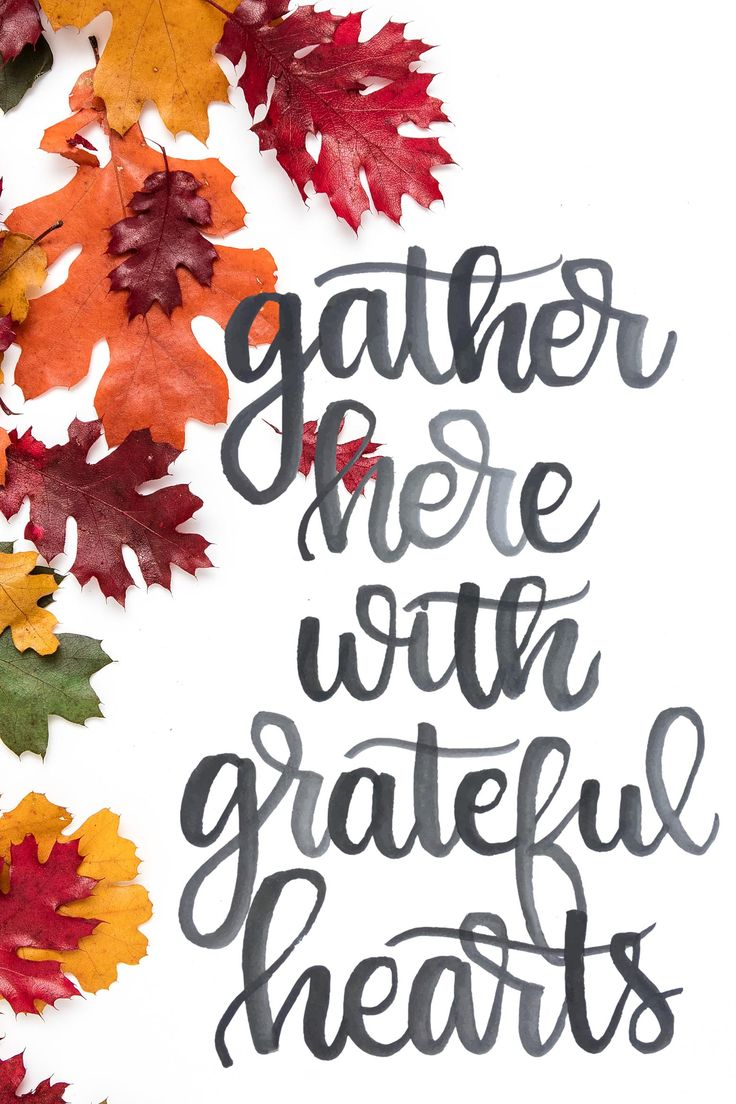 Gather here with grateful hearts. This lovely watercolor design is the perfect print for your Thanksgiving gathering!