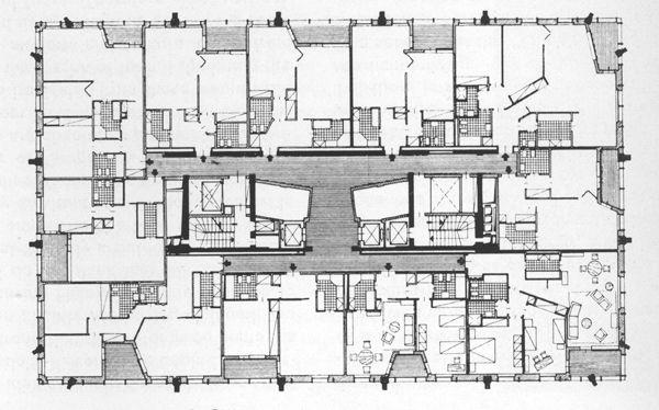 Torre Velasca, Typical Residential Plan,   BBPR (Gian Luigi Banfi, Lodovico Belgiojoso, Enrico Peresutti, Ernesto Rogers)  , Milano, 1950-58