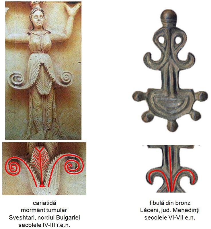 Fibula din bronz descoperită la Lăceni, judeţul Teleorman, datând din secolele VI-VII e.n.