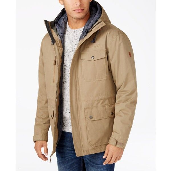 Free Country Men's Oxford Blend 3-in-1 Down Jacket ($120) ❤ liked on Polyvore featuring men's fashion, men's clothing, men's outerwear, men's jackets, beige tan, mens down jacket, mens beige jacket, mens jackets, mens tan leather jacket and mens puffer coat