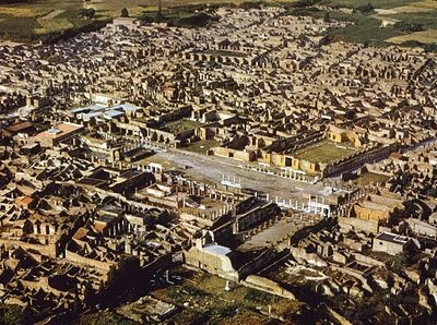 Just to give you an idea of the size of Pompeii today, here is an aerial view.