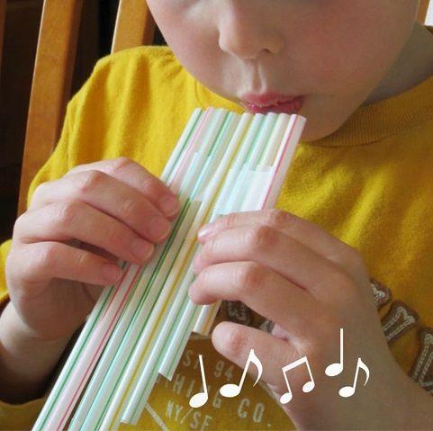 flauta de pan casera con pajitas para nios
