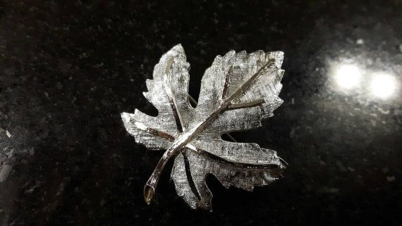 Gorgeous Silver toned Maple Leaf Brooch Hallmarked by themagickcat