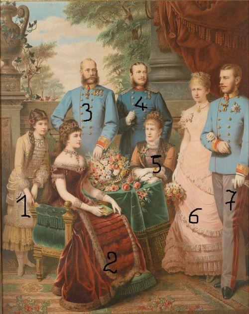 The Imperial Family of Austria1-Archduchess Marie-Valerie2-Empress Elisabeth (SissI)3-Emperor Franz-Joseph4-Prince Leopold of Bavaria5-Archduchess Gisela6-Crown Princess Stephanie 7-Crown Prince Rudolf