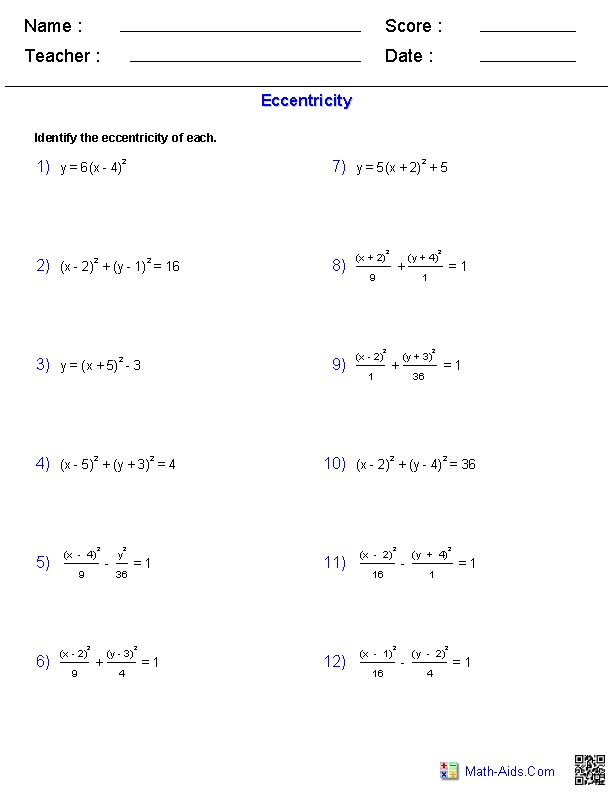 Eccentricity of a Conic Sections Worksheets