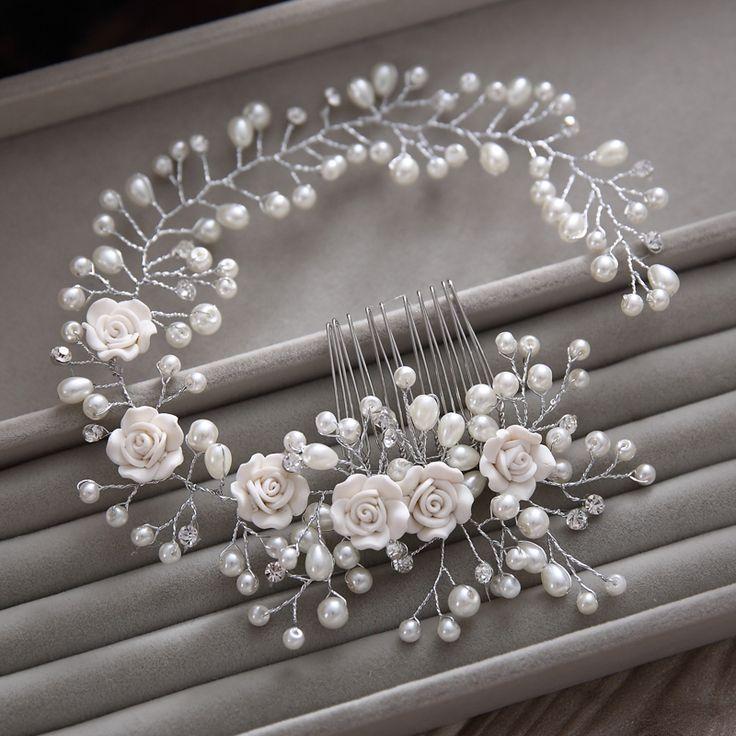 Prachtige haar kam bloemen hoofdband vrouwen parel sieraden haarband zachte keten haar ornamenten bridal tiara bruiloft accessoires yunyu