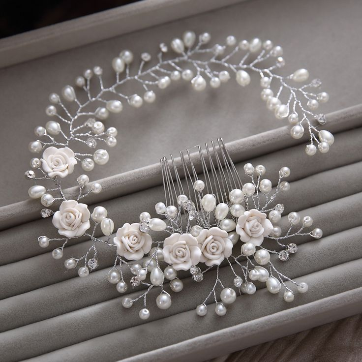 Gorgeous hair comb floral headband women pearl jewelry hairband soft chain hair…