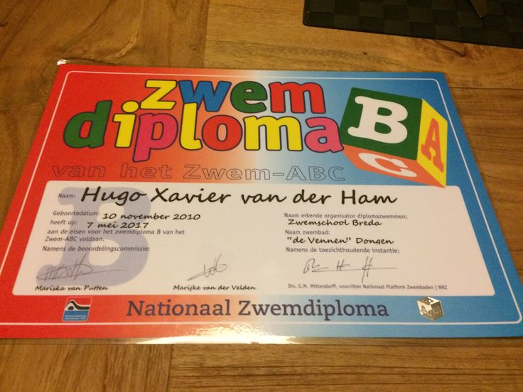 Hugo, zwemdiploma B, gehaald op 7 mei 2017