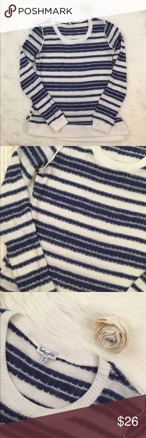 Splendid Blue & White Striped Crew Neck Sweater Splendid blue and white long sleeve striped knit sweater. Lightly used condition. Robbed detail along shoulders. Brand sold at Anthropologie and Nordstrom. Anthropologie Sweaters Crew & Scoop Necks