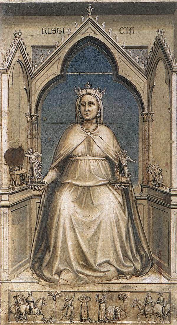 The Seven Virtues: Justice    1306  Fresco, 120 x 60 cm  Cappella Scrovegni (Arena Chapel), Padua  Giotto