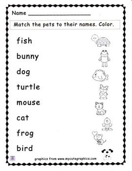 free a simple matching activity to go along with a pet theme students match the pet names to. Black Bedroom Furniture Sets. Home Design Ideas