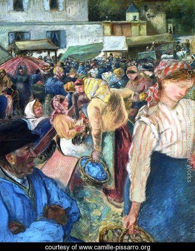 Poultry Market, Pontoise - Camille Pissarro - www.camille-pissarro.org