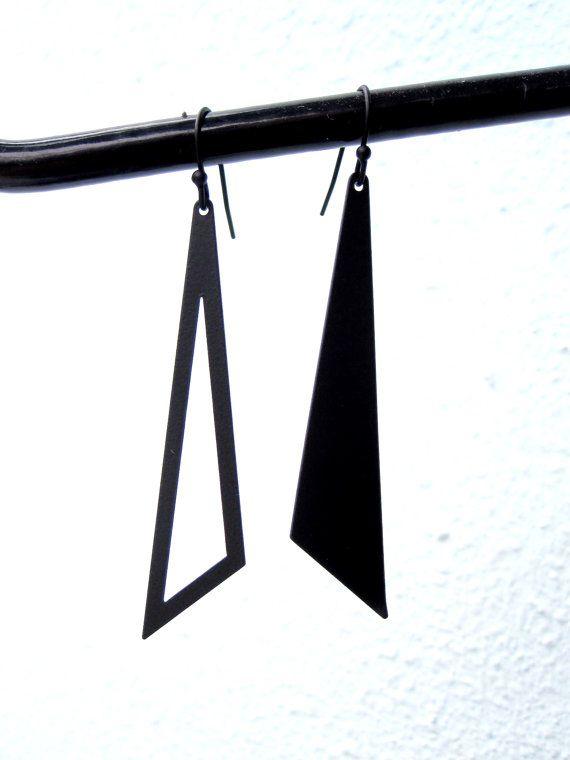 Geometric Earrings Black  Dangle Earrings Triangle by pearlatplay, $15.80