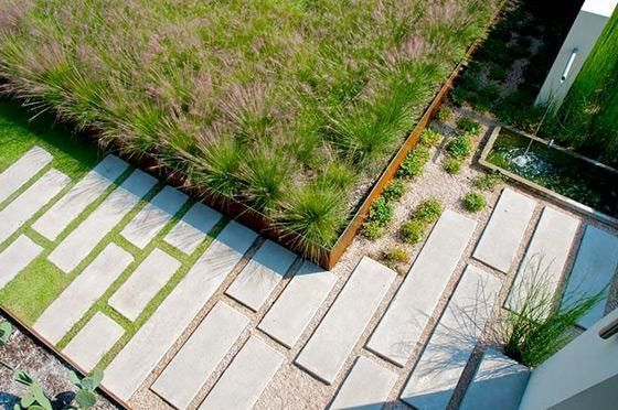 Large format concrete steppers through graded pebbles and lawn. Pinned to Garden Design - Paving & Stairs by Darin Bradbury.