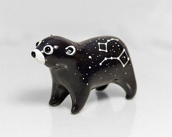 Bear Figurine OOAK Handmade Polymer Clay Animal Totem