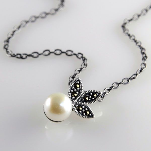 Marcasite and Pearl Pendant