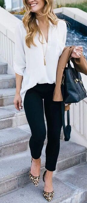 **** Stitch Fix April 2017!  Gorgeous work attire.  Love the beautiful white blouse, black skinny pant and leopard pointed toe heel.  Pair with your favorite nude jacket!  Get great looks just like th
