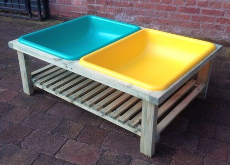 sand and water play centre with cover. We could make something wooden and use deep ikea plastic trays to sit in. It could store sideways in a shed and trays stack up.