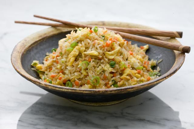 Basic Fried Rice Ingredients 2 green onions, finely chopped     2 large eggs     1 teaspoon salt     Pepper to taste     3 tablespoons oil for stir-frying, or as needed     4 cups previously cooked rice, at least 1 day old     1 – 2 tablespoons light soy sauce or oyster sauce as desired (see Add the Seasonings for more suggestions)