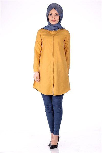 Tesettür Boyfriend Gömlek 5010 - Hardal Tunik Modelleri- Kirazgiyim