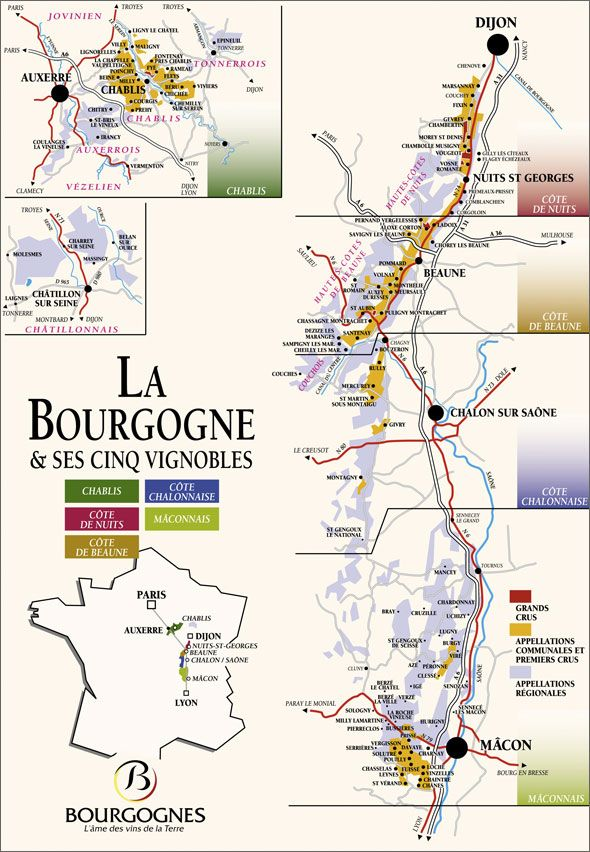 Bergman's Bourgogne - Map over Burgundy.