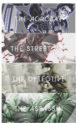 Robins-Dick Grayson, Jason Todd, Tim Drake, Damian Wayne