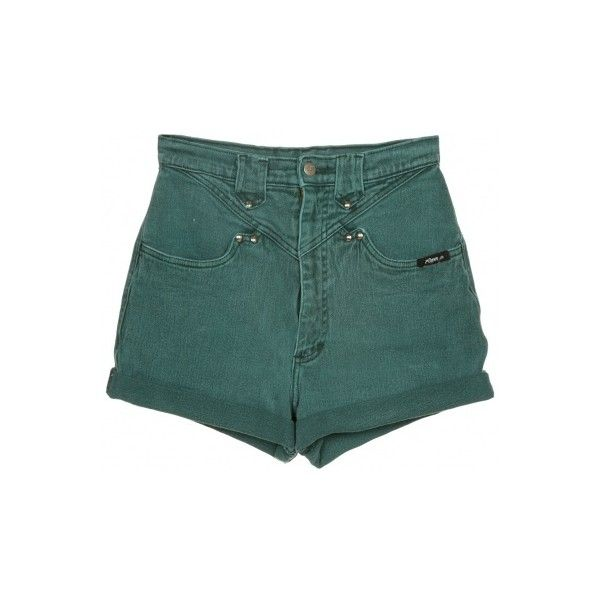 Rokit Recycled Green Denim Turn Up Shorts W25 ❤ liked on Polyvore featuring shorts, bottoms, pants, short, zipper shorts, vintage shorts, green denim shorts, jean shorts and green shorts