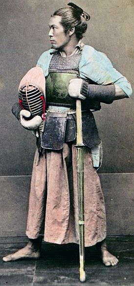 """Kendo (剣道 kendō?), meaning """"Way of The Sword"""", is a modern Japanese martial art of sword-fighting descended from traditional swordsmanship (kenjutsu) which originated with the samurai class of feudal Japan. Swordsmen in Japan established schools of kenjutsu (the ancestor of kendo) which continued for centuries and which form the basis of kendo practice today."""