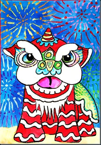 Chinese New Year Lion Dancers:   step-by-step drawing instructions