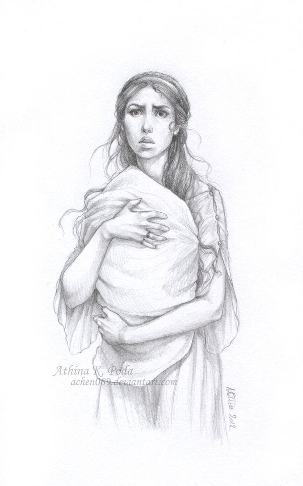 It doesn't quite look like her... But this drawing reminds me of Gemma fleeing the Castle with a baby Heidi swaddled in her arms...