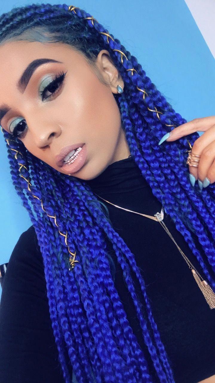 Blue Hair Tribal Braids Mickeymick Littlegirlboxbraids