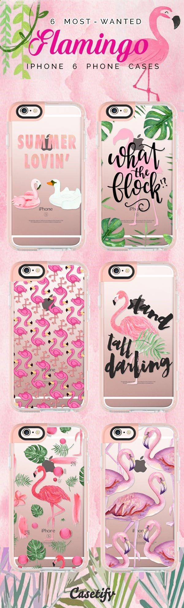 Phone Cases - Top 6 Flamingo iPhone 6 protective phone case designs | Click through to see more iPhone phone case idea. Let's flamingo! >>> www.casetify.com/... | Casetify