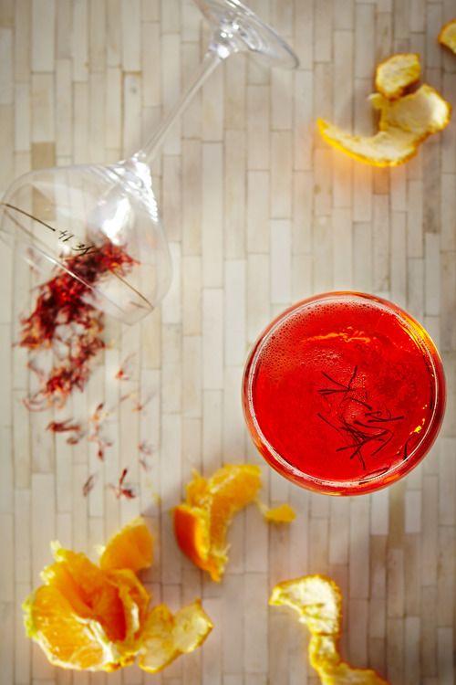 Saffron Champagne Cocktail // 1 orange 1 1/2 oz saffron-infused gin 1 ...
