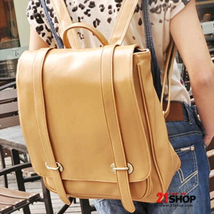 Ocio y tiempo libre japonés y Corea del Estilo Amarillo / Negro / mochila de la Mujer de Cream