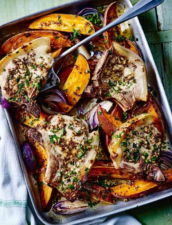 Maple and tarragon pork chops and sweet potato traybake - Sainsbury's Magazine