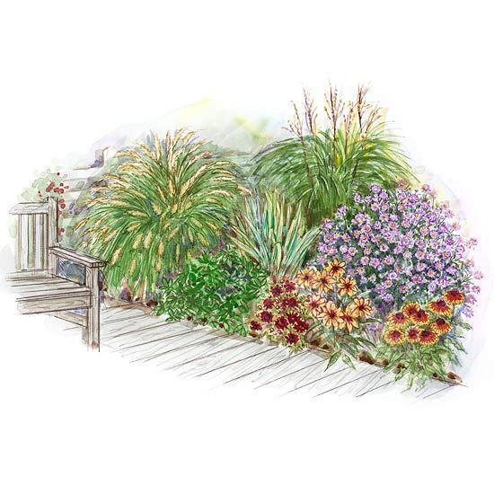 Garden plans for decks and patios garden planning for Ornamental grass garden design plans
