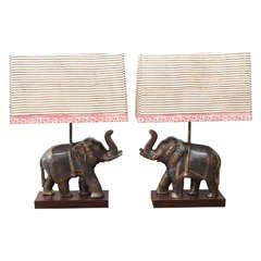 Pair Of Benares Wear Elephant Table Lamps