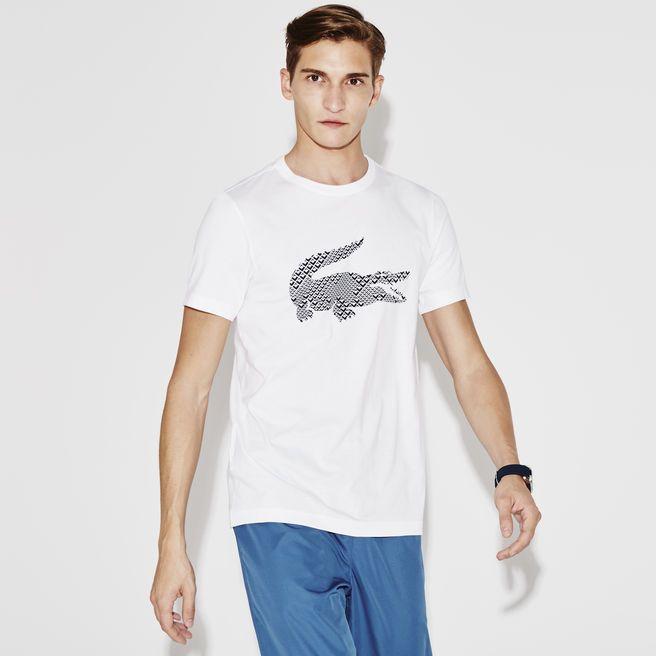 Camiseta gola careca Lacoste SPORT de jersey tecnológico com crocodilo estampado