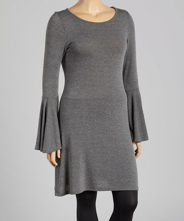Look what I found on #zulily! Charcoal Bell-Sleeve Shift Dress - Plus #zulilyfinds