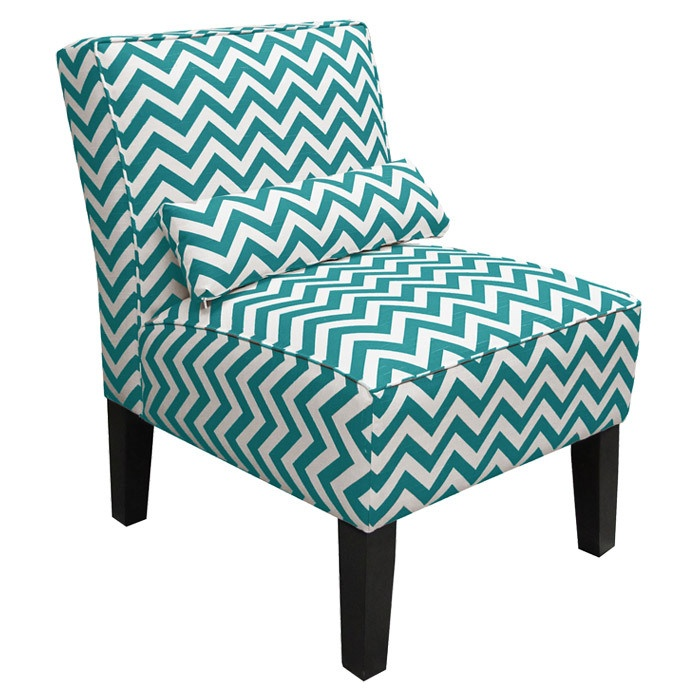 Chevron Accent Chair In Teal White