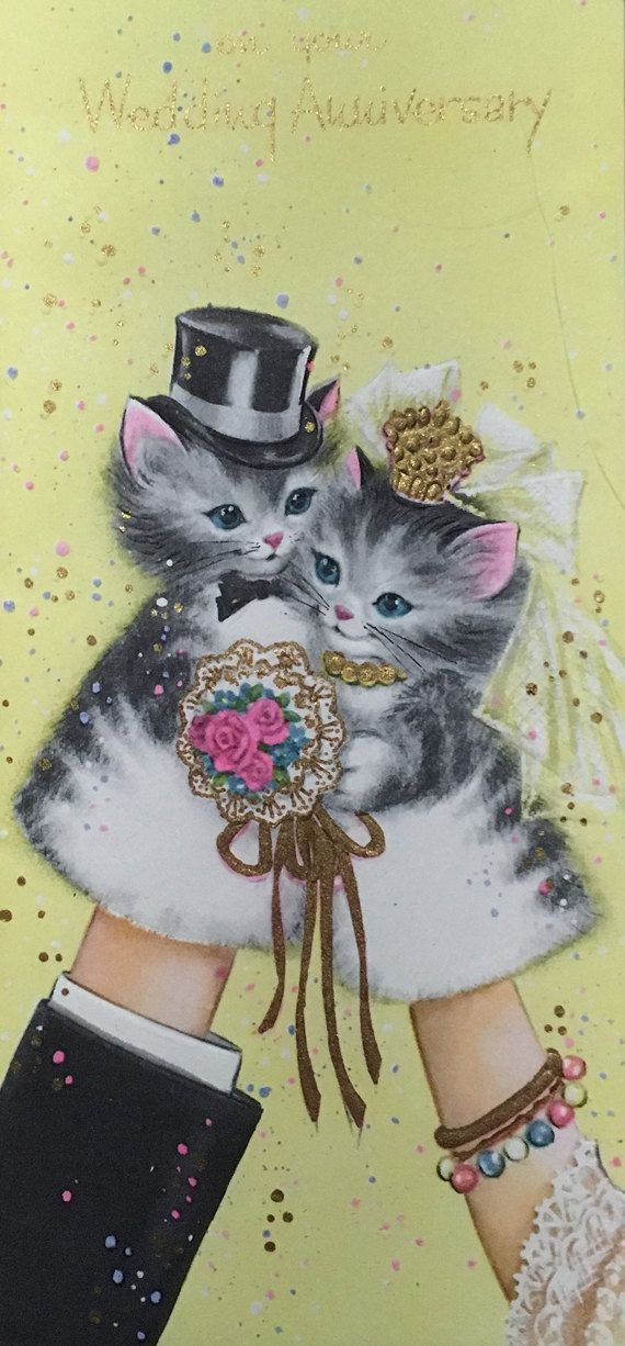 wedding anniversary greeting cardhusband%0A Kitten Wedding Anniversary Vintage Unused      u    s Greeting Card with  Envelope Puppets