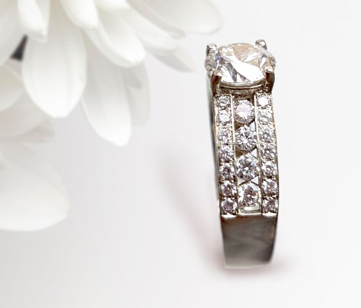 Linara Round Triple Row Pave & Channel Diamond Engagement Ring in 14k White Gold