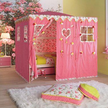 Hemelbed met tent pink garden Speelhuis voor meisjes...