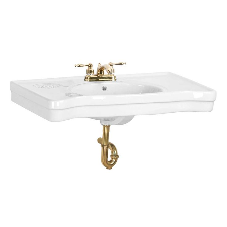 Item #15458 : Bathroom Console Sink White China Belle Epoque Wall Mount
